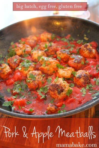 Pork and Apple Meatballs: big batch recipe/make-ahead meal