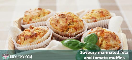 Savoury feta and tomato muffins