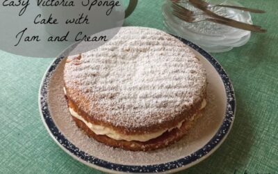Easy victoria sponge cake with jam and cream