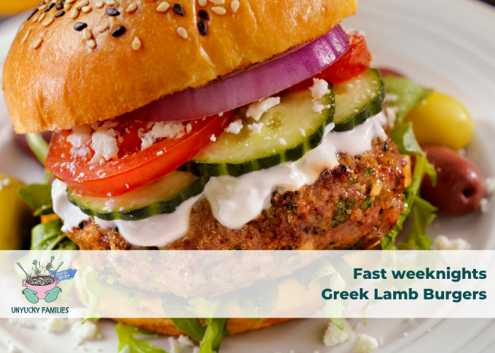 Greek Lamb Burgers with kid-friendly yoghurt sauce