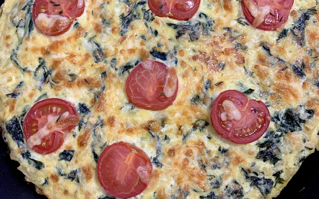 Easy Baked Cheesy Silverbeet and Tomato Frittata