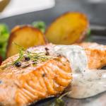 salmon and potato tray bake