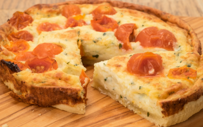 Herb, ham and tomato quiche