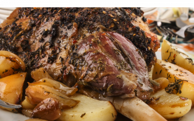 Slow cooked lamb with mint sauce + potatoes