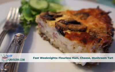 Flourless Ham, Cheese, Mushroom Tart with Easy Green Salad