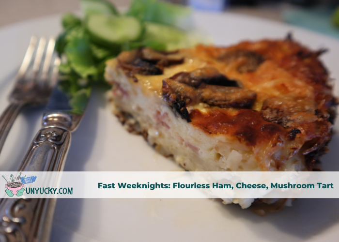 Flourless Ham, Cheese, Mushroom Tart with Easy Green Salad